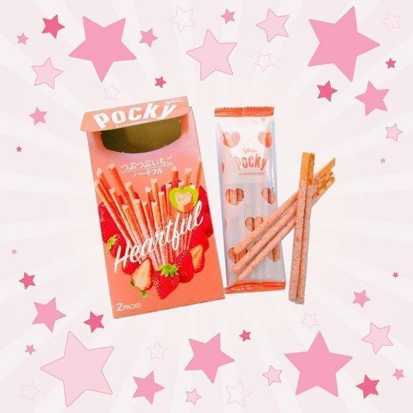 Open Box of Glico Pocky Heartful Strawberry