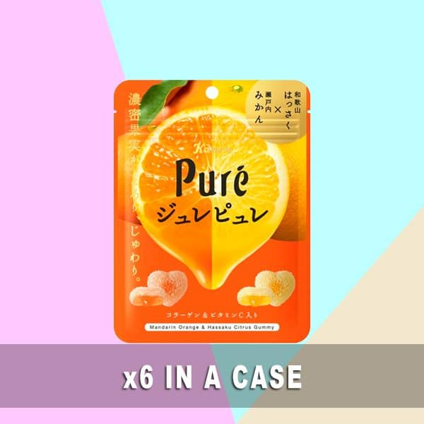 Kanro Pure Gummy Tangerine 6 in a case
