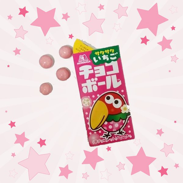 Open Box of Morinaga Choco Ball Strawberry